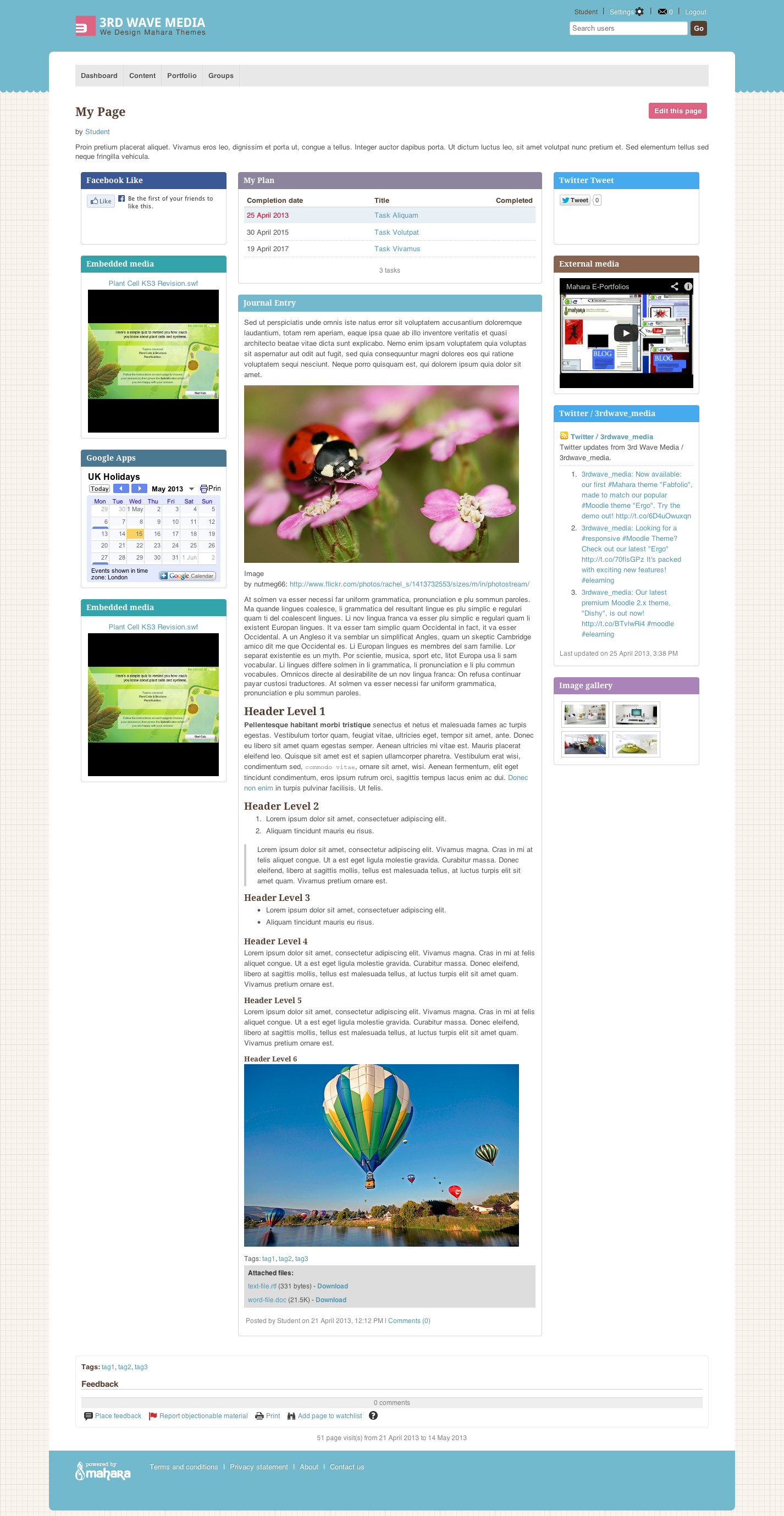 """Responsive Mahara Theme """"Fabfolio"""" Launched - eLearning Themes"""