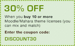 30% off when you buy 10 or more theme licenses. Enter the coupon code: DISCOUNT30