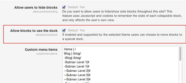 Moodle Theme Enable Dock