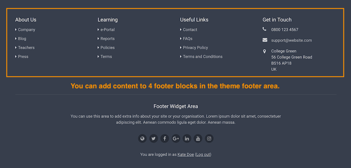 Add custom footer thesis theme