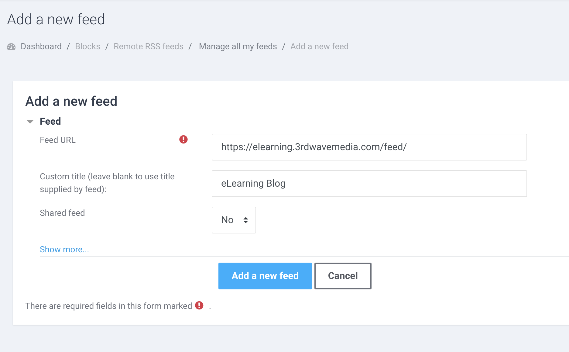 moodle-site-add-a-new-feed-settings