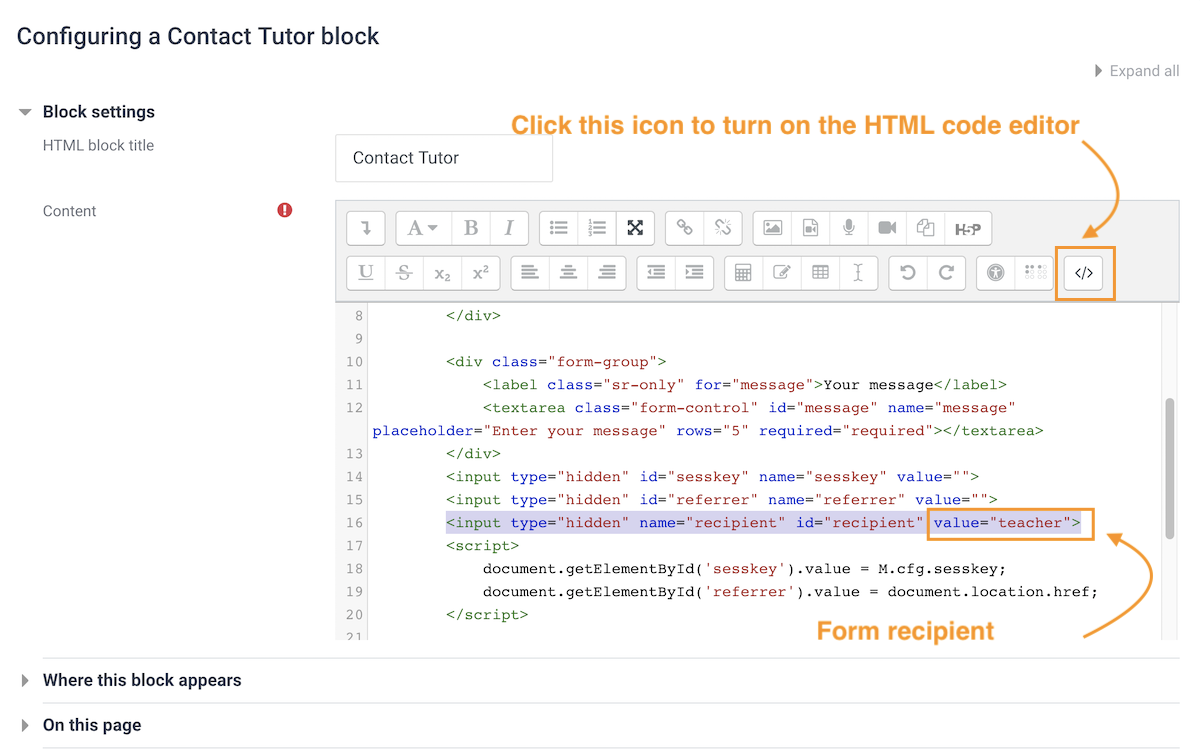 moodle-custom-contact-tutor-form-code-view